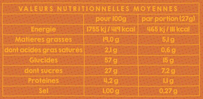 Le tableau nutritionnel de nos gâteaux mi-chocolatés mi-vanillés.