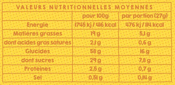Le tableau nutritionnel de nos madeleines natures pour être sûr qu'il n'y ait pas d'allergènes !